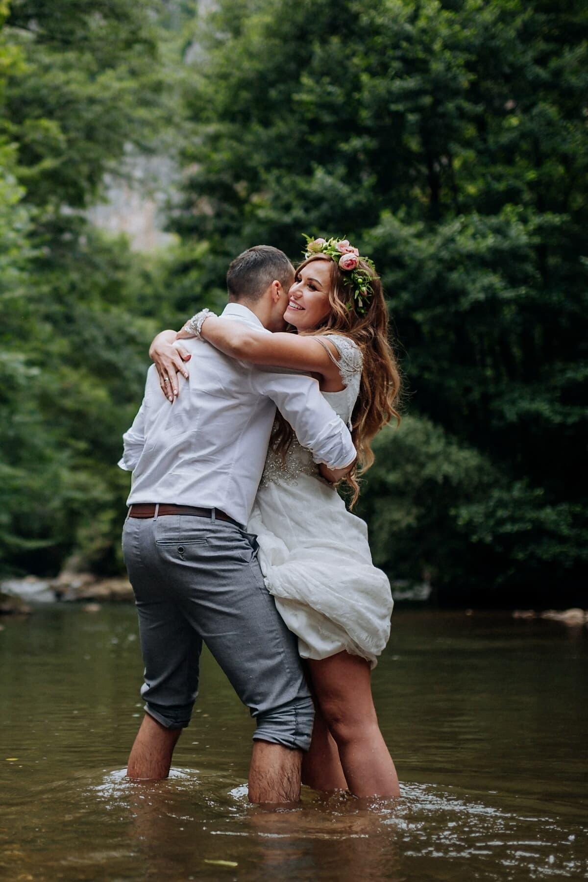 enjoyment, love, man, standing, woman, river, romance, nature, outdoors, summer