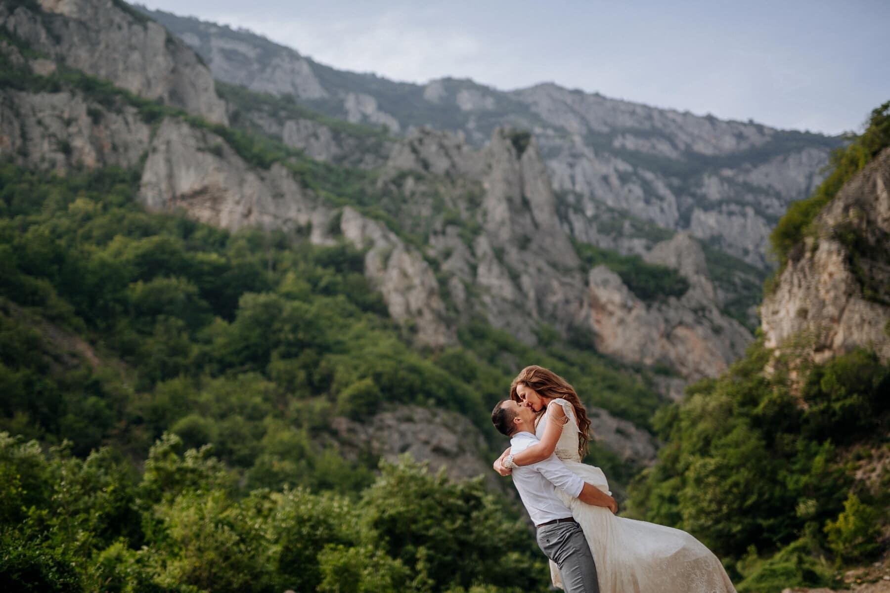 boyfriend, mountainside, girlfriend, mountain peak, love, hugging, nature, outdoors, mountains, mountain