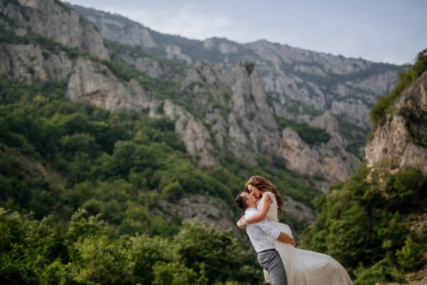 boyfriend, mountainside, girlfriend, mountain peak, love, hugging, nature, outdoors, mountains, mountain