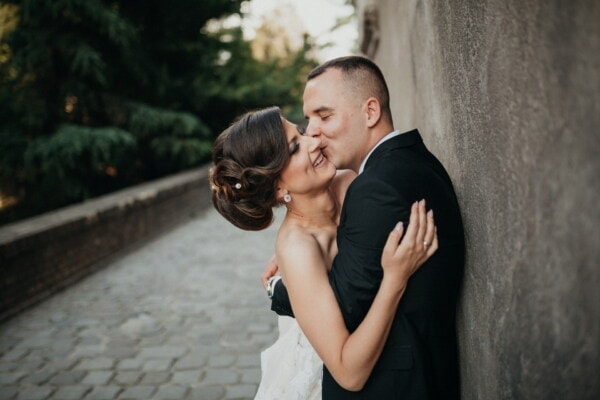 woman, hugging, kiss, affection, man, love date, love, tenderness, groom, bride