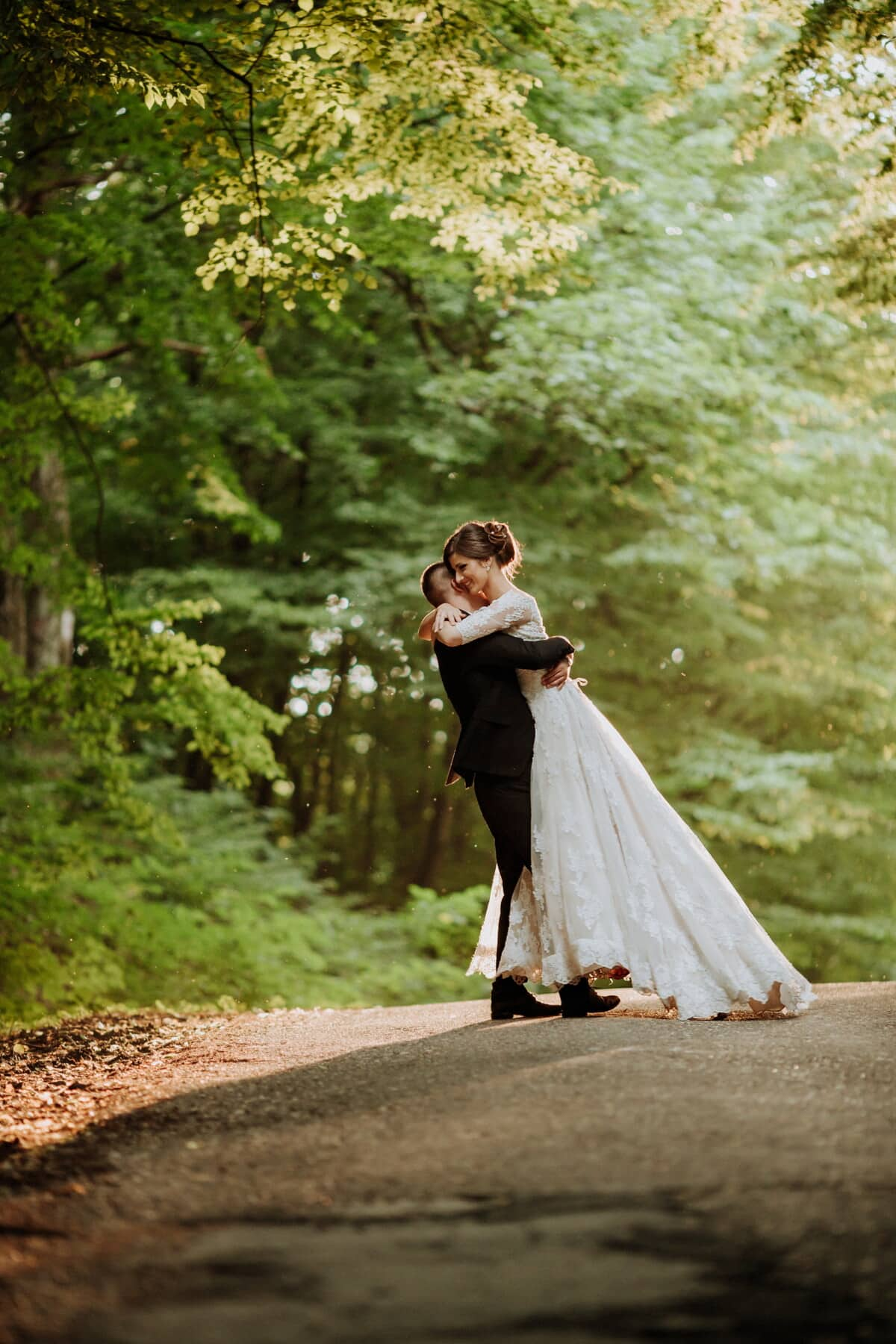 bride, forest road, groom, hugging, wedding, couple, dress, married, marriage, love