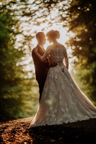 romantic, bride, sunset, groom, forest road, dress, wedding, girl, love, marriage