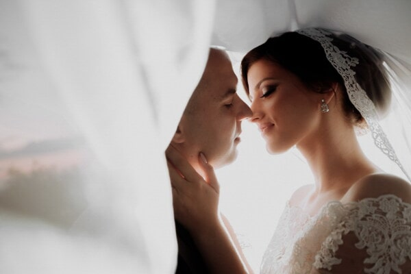 groom, bride, underneath, veil, hugging, kiss, woman, love, wedding, romance