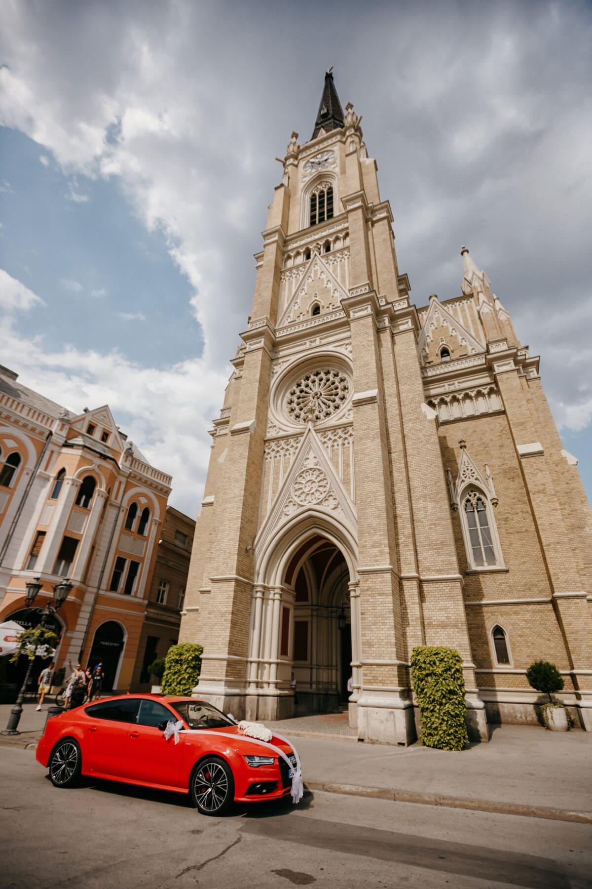 Audi, rojo, coche de los deportes, catedral, centro de la ciudad, paisaje urbano, ciudad, calle, fachada, torre