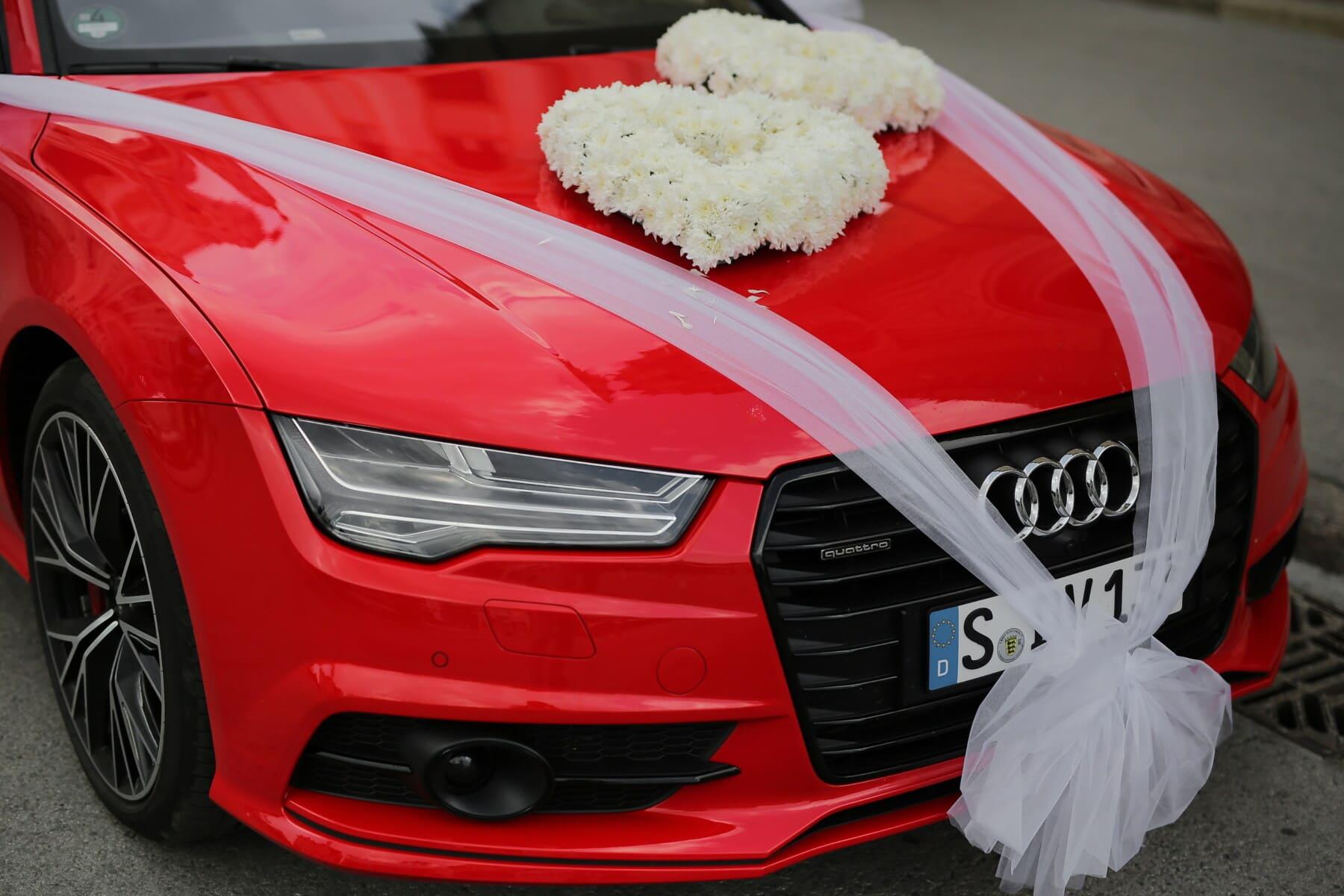 Audi, voiture de sport, rouge, mariage, bouquet de mariage, Roadster, automobile, automobile, Vitesse, voiture