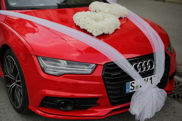 Audi, sports car, red, wedding, wedding bouquet, roadster, automotive, automobile, speed, car