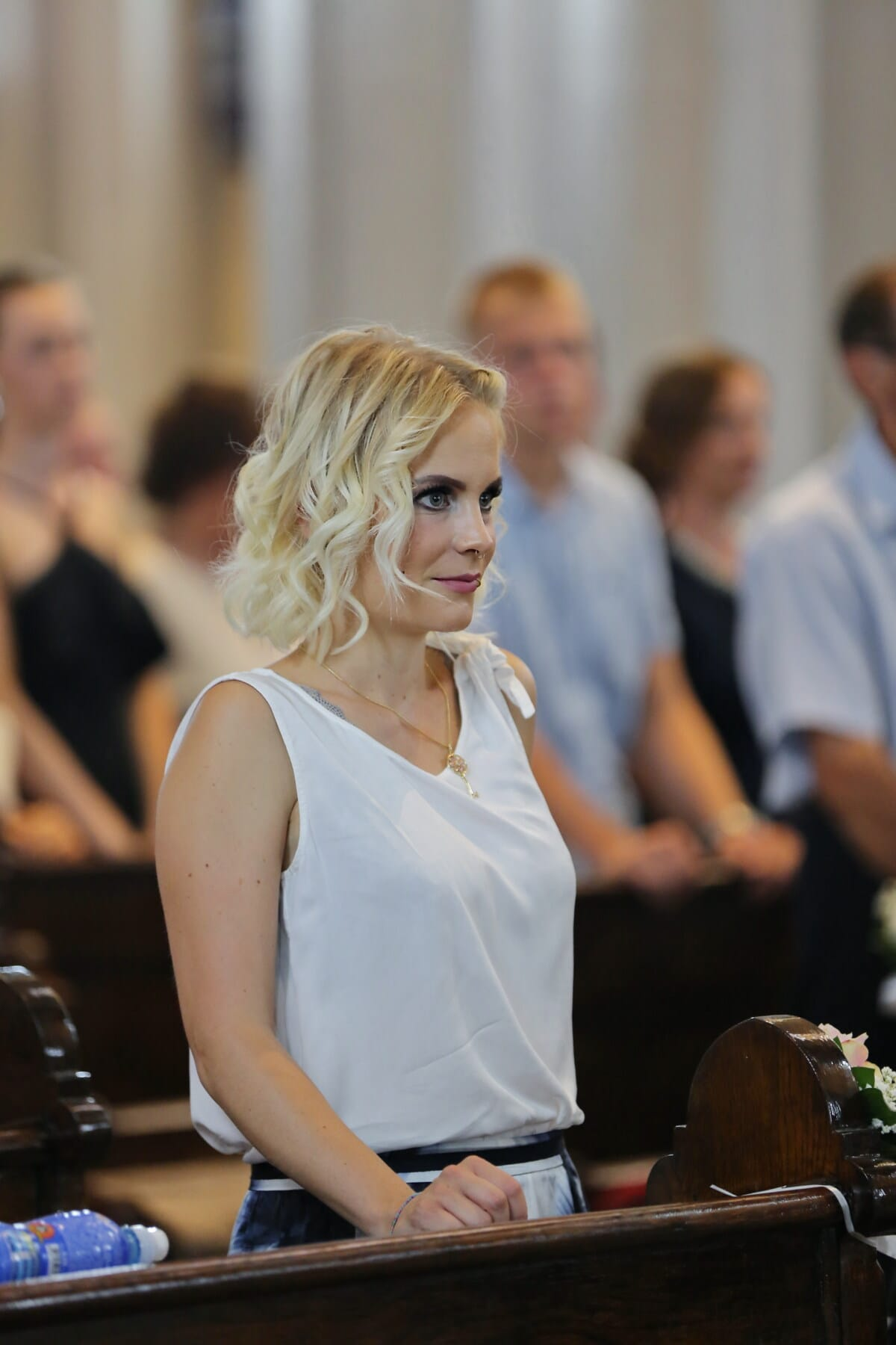 church, standing, pretty, christian, spirituality, blonde hair, prayer, christianity, woman, man