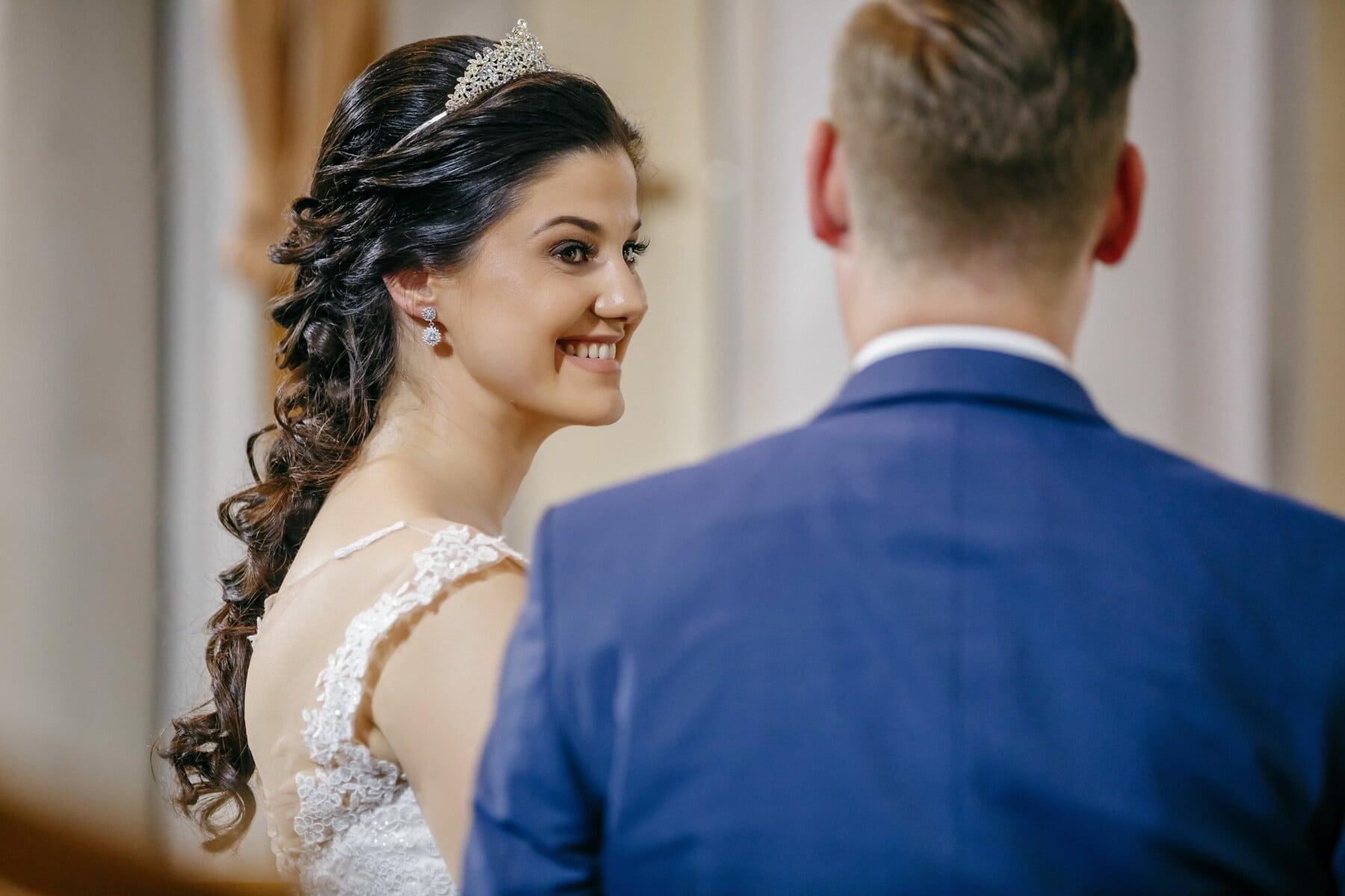 bride, princess, jewelry, crown, groom, wedding, man, fashion, woman, indoors