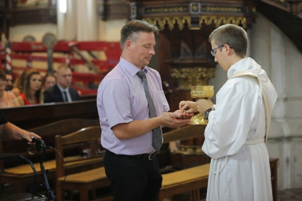 priest, baptism, christianity, catholic, businessman, cathedral, man, indoors, religion, church