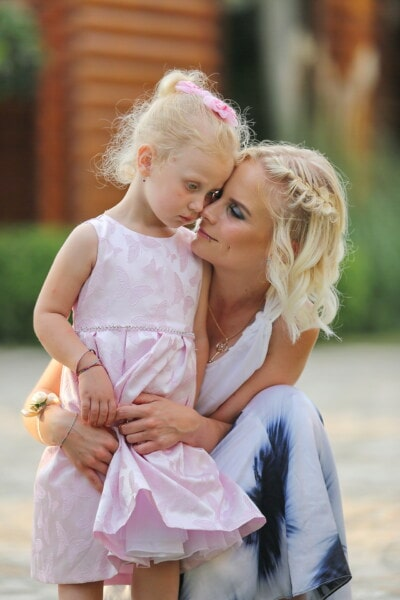 mother, daughter, motherhood, affection, blonde, tenderness, pretty girl, love, fun, togetherness