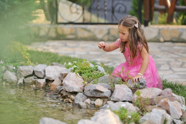 blonde, child, sitting, pond, backyard, playful, garden, nature, girl, summer