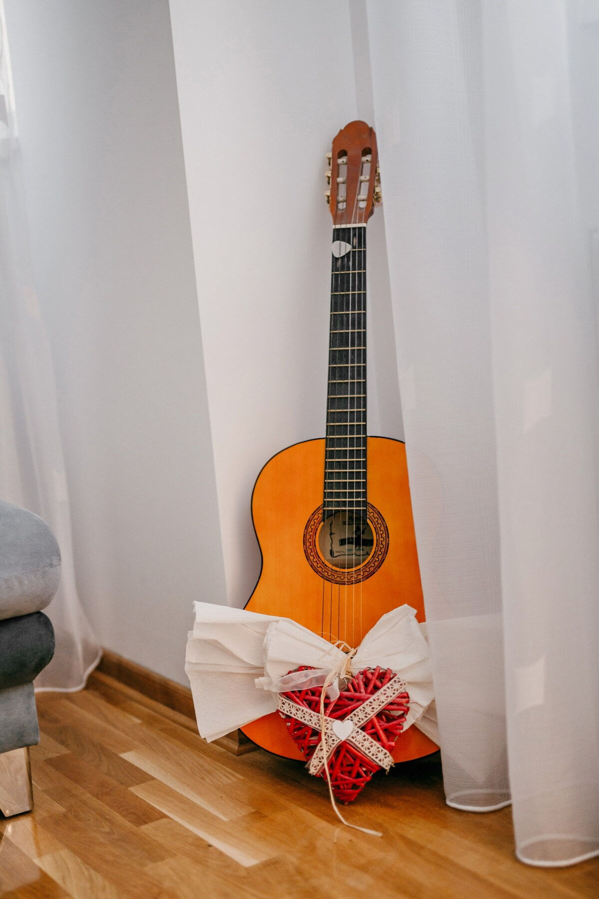 guitar, acoustic, gifts, heart, living room, musical, sound, music, string, rock