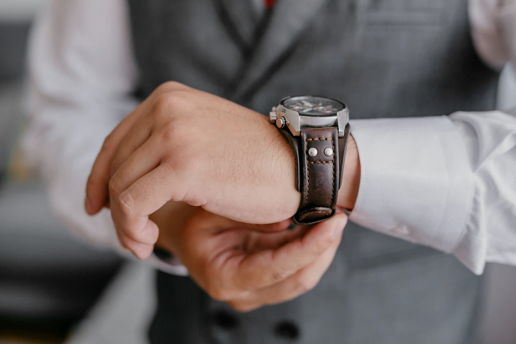 wristwatch, fancy, expensive, clock, leather, brown, hand, man, touch, business