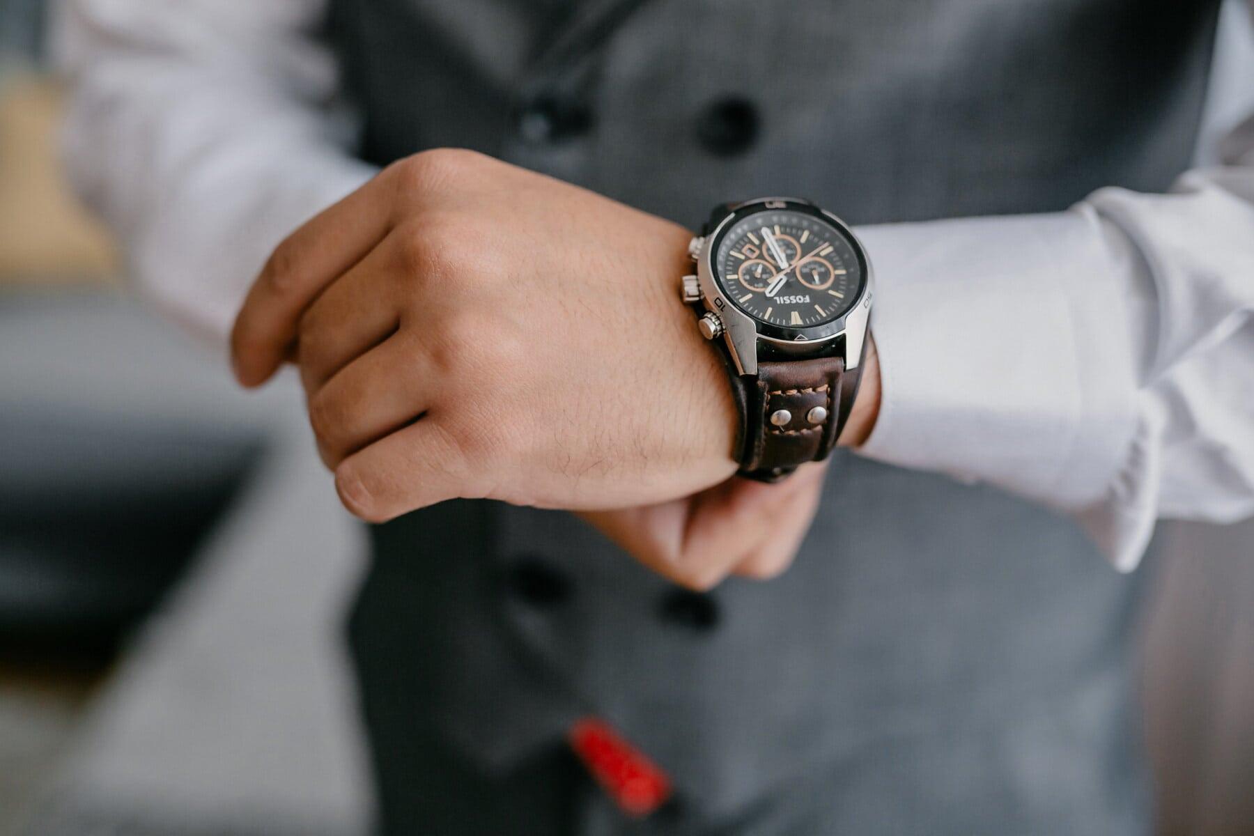 Armbanduhr, Lust auf, teuer, Mann, Manager, Smokinganzug, Uhr, Hand, Zeit, Menschen