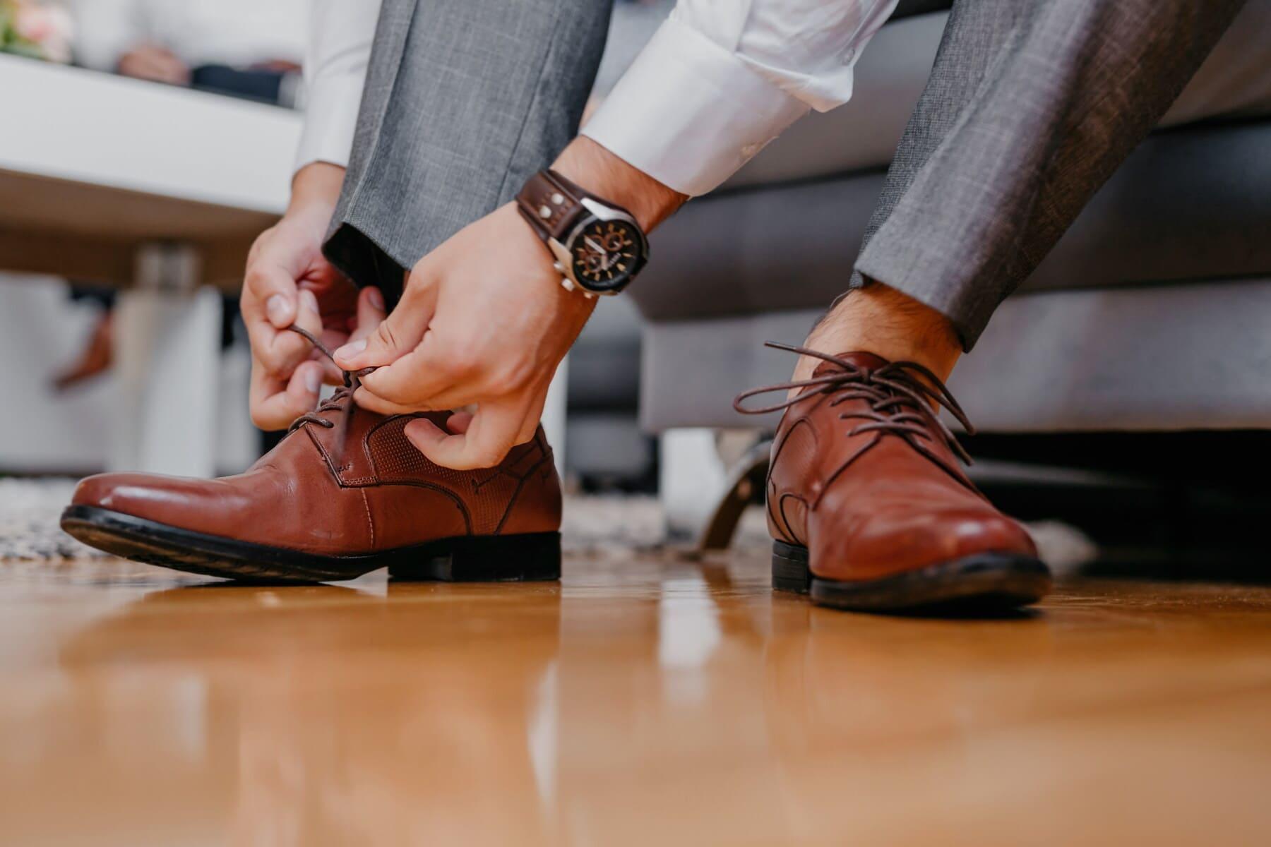 jambes, pieds nus, chaussures, lacet, pied, chaussures, professionnel, fantaisie, homme, en cuir