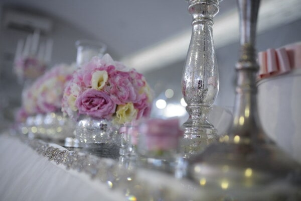 reception, shining, candlestick, table, decoration, flower, vase, glass, celebration, romance
