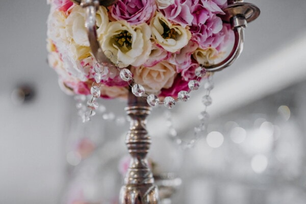fancy, crystal, candlestick, decorative, bouquet, pink, flower, decoration, beautiful, rose