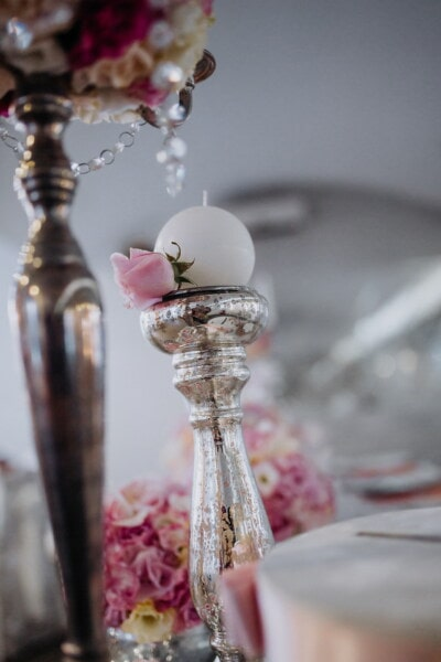 reception, interior design, interior decoration, candlestick, still life, crystal, luxury, flower, romance, glass