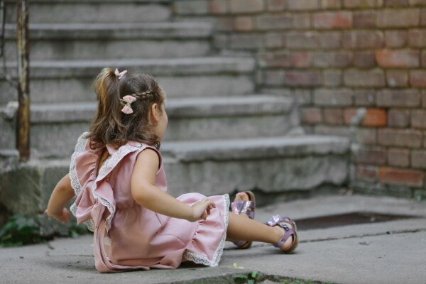 stairs, young, asphalt, girl, sitting, playful, child, outdoors, person, people