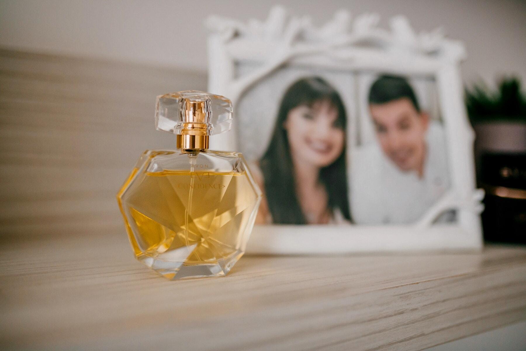 Parfüm, Duft, Glas, Aromatherapie, Entspannung, Luxus, drinnen, Holz, verwischen, Mode