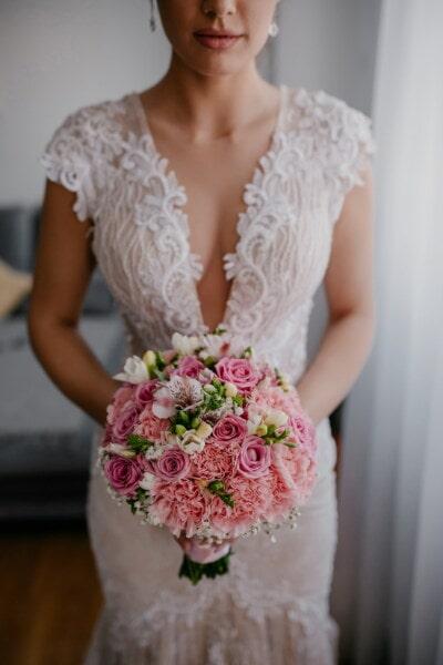 stojící, nevěsta, hospodářství, svatební kytice, žena, svatba, elegantní, móda, pěkné, kytice