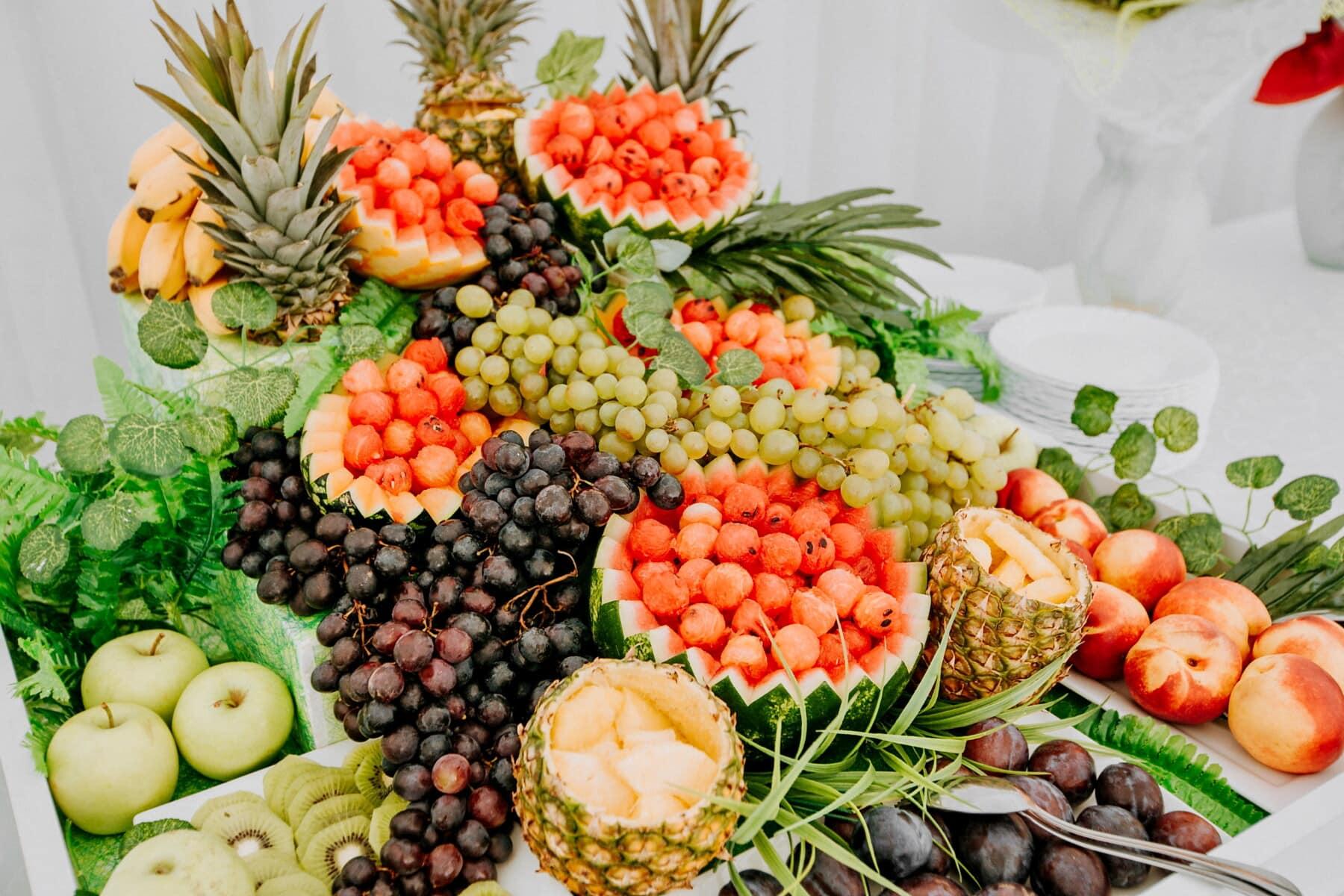 pommes, panache, ananas, Kiwi, melon d'eau, les raisins, banane, fruits, alimentaire, santé