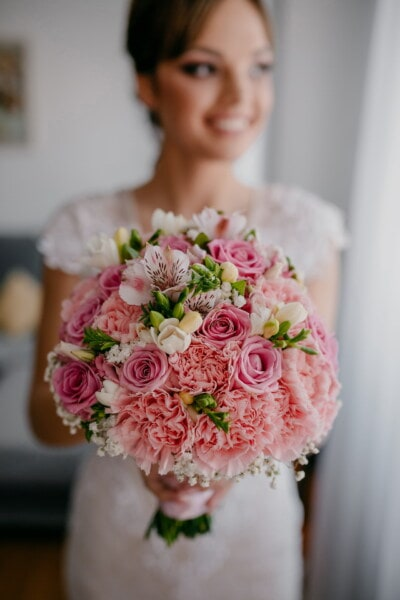 happiness, bride, smiling, holding, wedding bouquet, wedding, romance, bouquet, flowers, elegant