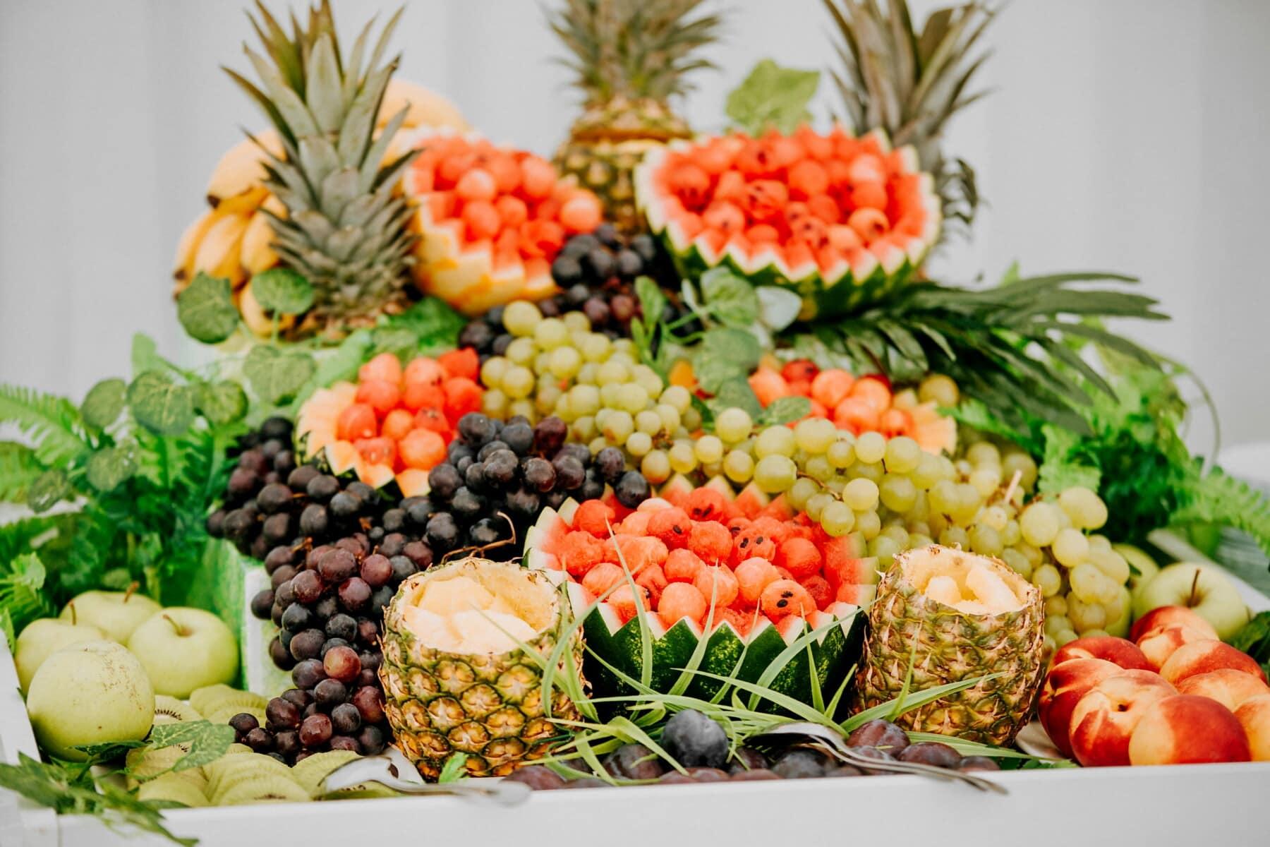 pommes, Peach, ananas, melon d'eau, banane, fruits, alimentaire, en bonne santé, santé, feuille