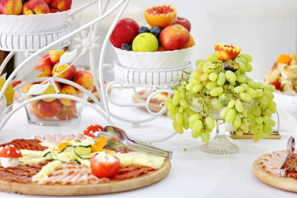 yellow green, grapes, fruit, oranges, peach, apples, salami, sausage, buffet, elegant