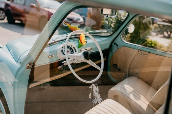 old style, nostalgia, old fashioned, steering wheel, Fiat 750, old, seat belt, gauge, car seat, dashboard, mechanism