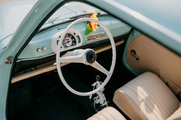 Italy, car, interior decoration, nostalgia, old style, old fashioned, Fiat 750, speedometer, steering wheel, dashboard, car seat