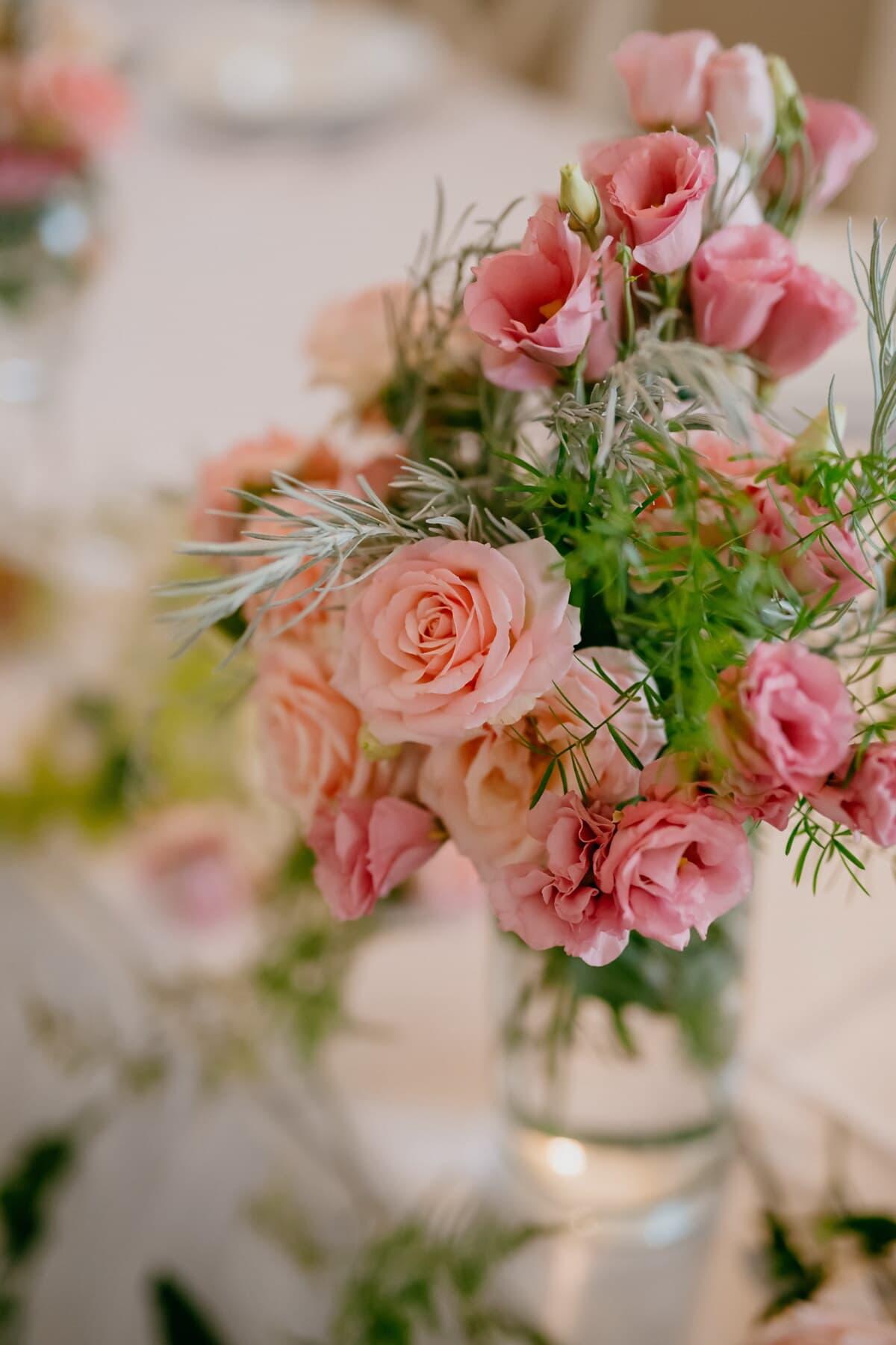 Nelke, Rosa, Pastell, Rosen, Blumenstrauß, Vase, Rosa, Romantik, Anordnung, stieg