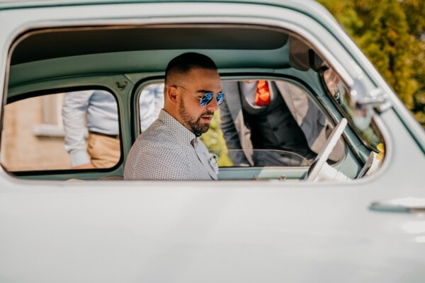 Fiat 750, man, car seat, driving, oldtimer, small, car, side view, transportation, vehicle, person