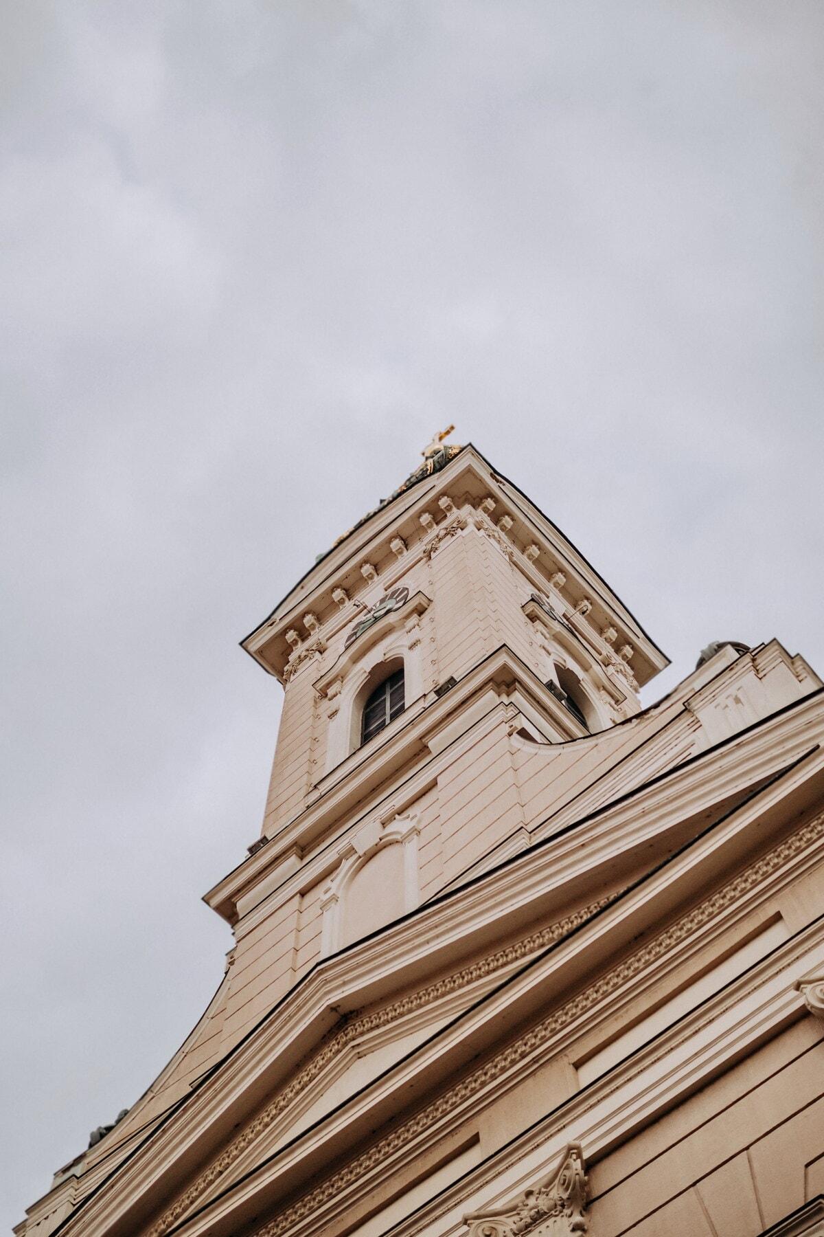 vinkel, kirketårnet, fasade, katedralen, tårnet, arkitektur, klokke, bygge, kirke, gamle