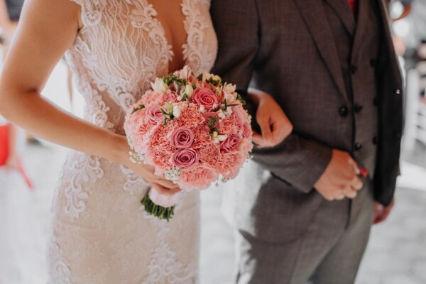 bride, ceremony, groom, wedding, holding hands, flowers, romance, bouquet, love, woman