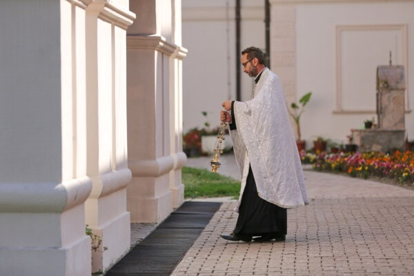 orthodox, priest, walking, backyard, monastery, christianity, spirituality, architecture, ceremony, outdoors