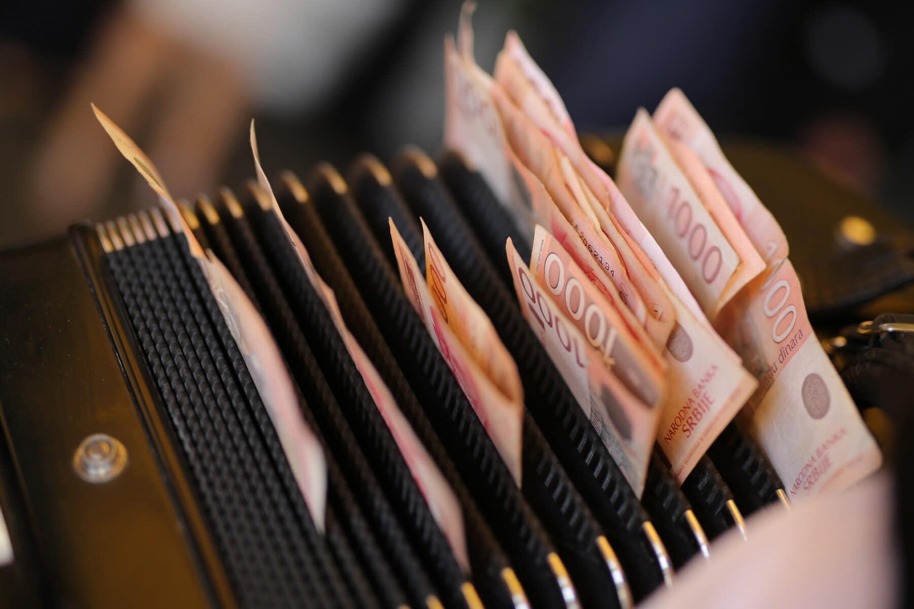 argent, musicien, billet de banque, trésorerie, accordéon, divertissement, entreprise, à l'intérieur, papier, nature morte