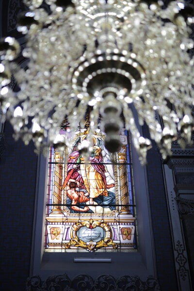 stained glass, art, church, crystal, chandelier, religion, architecture, cathedral, light, inside