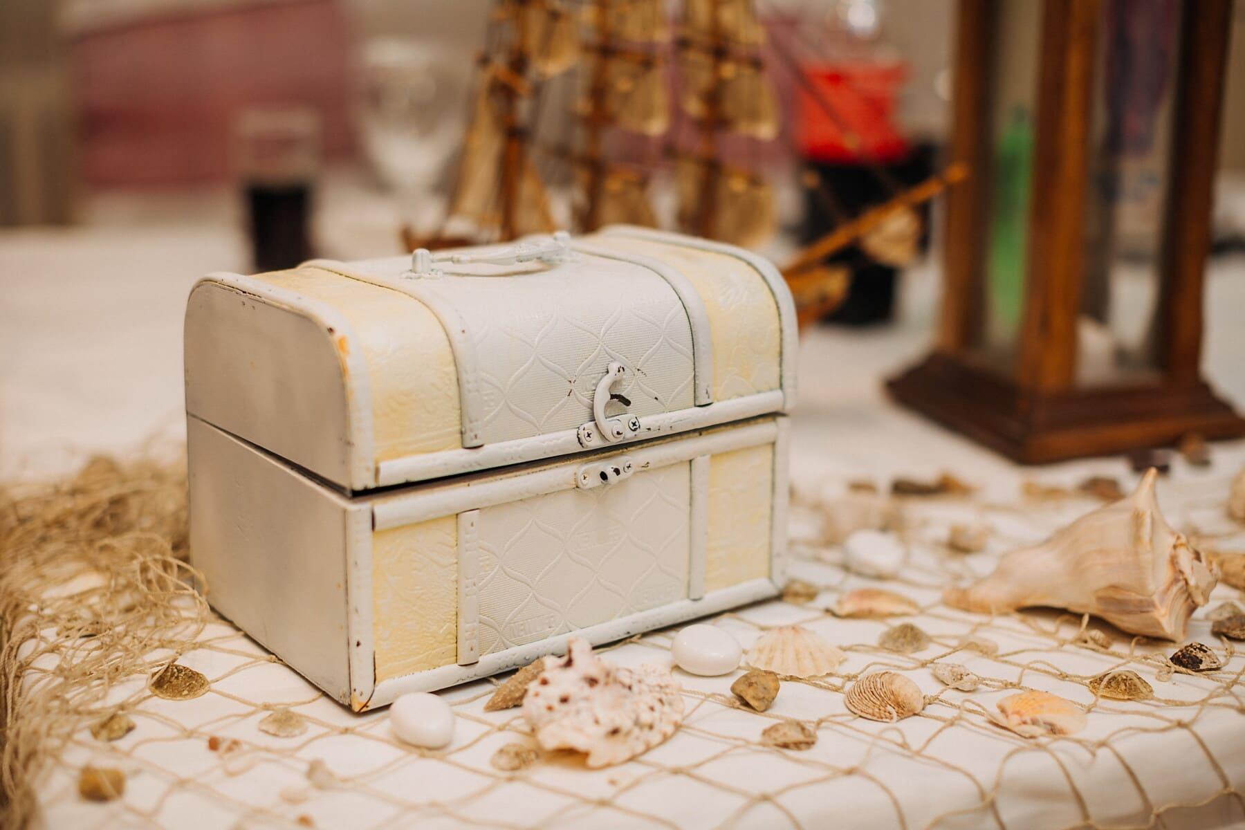 box, chest, vintage, interior decoration, seashell, treasure, luggage, container, retro, wood