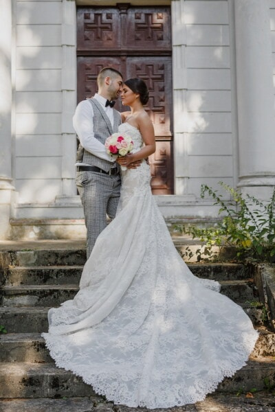 love, romantic, kiss, tenderness, bride, groom, affection, staircase, standing, dress