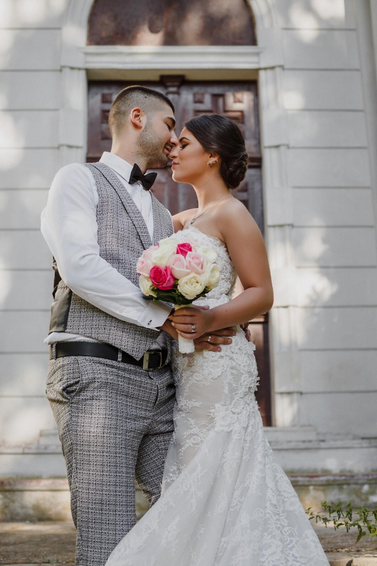 ženích, bozk, pobozkať, nevesta, stojace, schodisko, svadba, láska, šaty, pár, romance