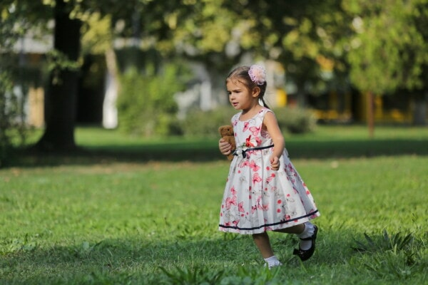 pretty girl, running, teddy bear toy, holding, park, grass, child, summer, happy, outdoor