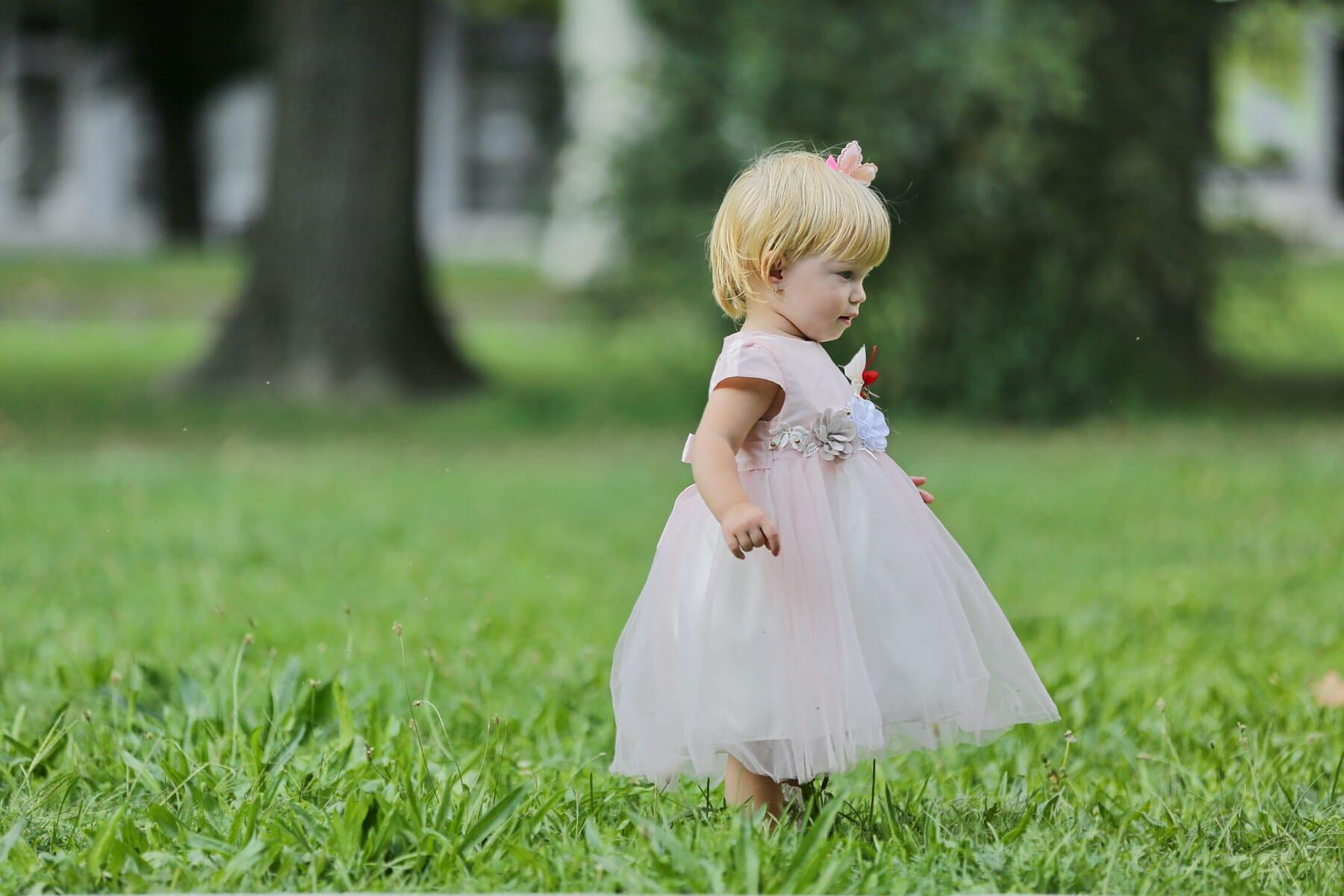 blonde hair, toddler, pretty girl, lawn, green grass, walking, grass, dress, child, married