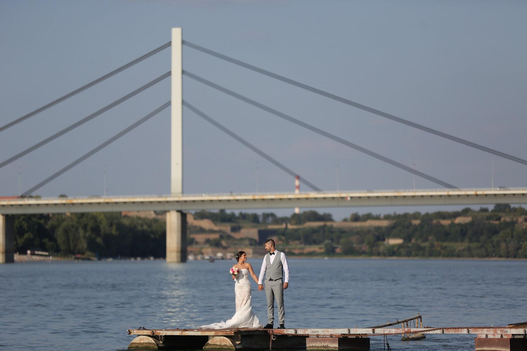 pan młody, nowożeńcy, panna młoda, port, ludzie, Most, molo, wody, urządzenia, Rzeka