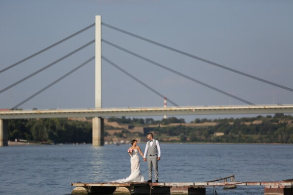 groom, newlyweds, bride, harbour, people, bridge, pier, water, device, river