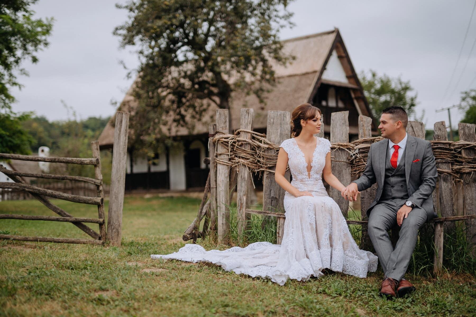 villager, village, newlyweds, cottage, dress, girl, love, married, bride, wedding
