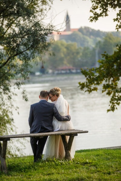 romantic, moment, bride, groom, tenderness, bench, relaxation, love, wedding, girl