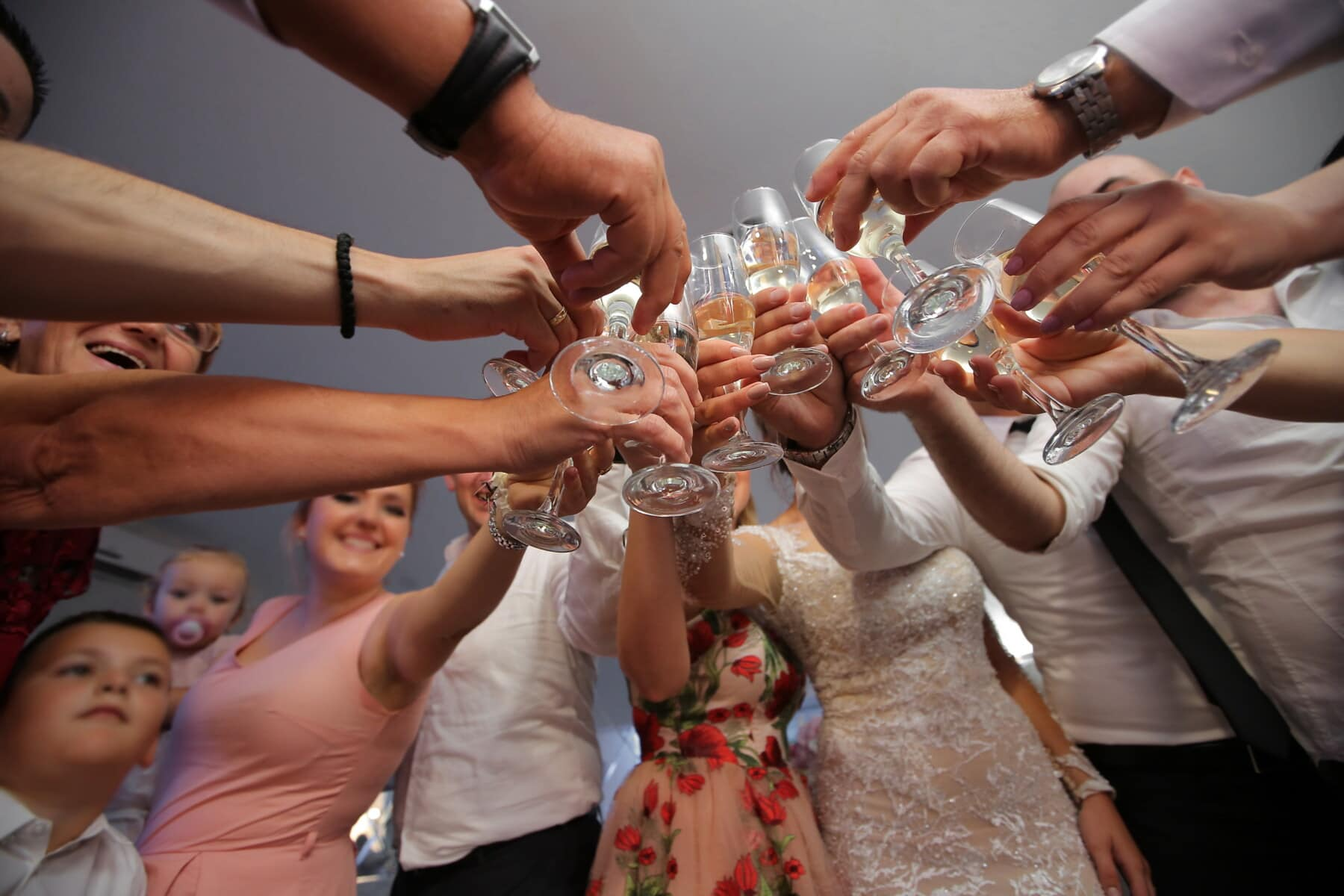 champagne, white wine, hands, glass, crystal, celebration, people, crowd, man, wine