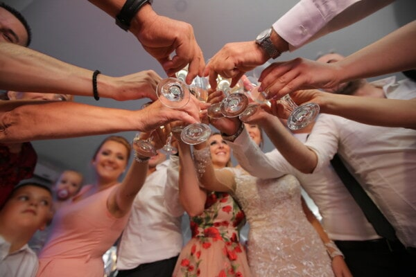 champagne, white wine, hands, party, group, people, woman, man, girl, friendship