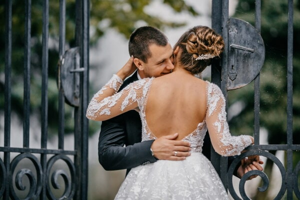 woman, gateway, man, cast iron, hugging, lover, girl, bride, engagement, groom